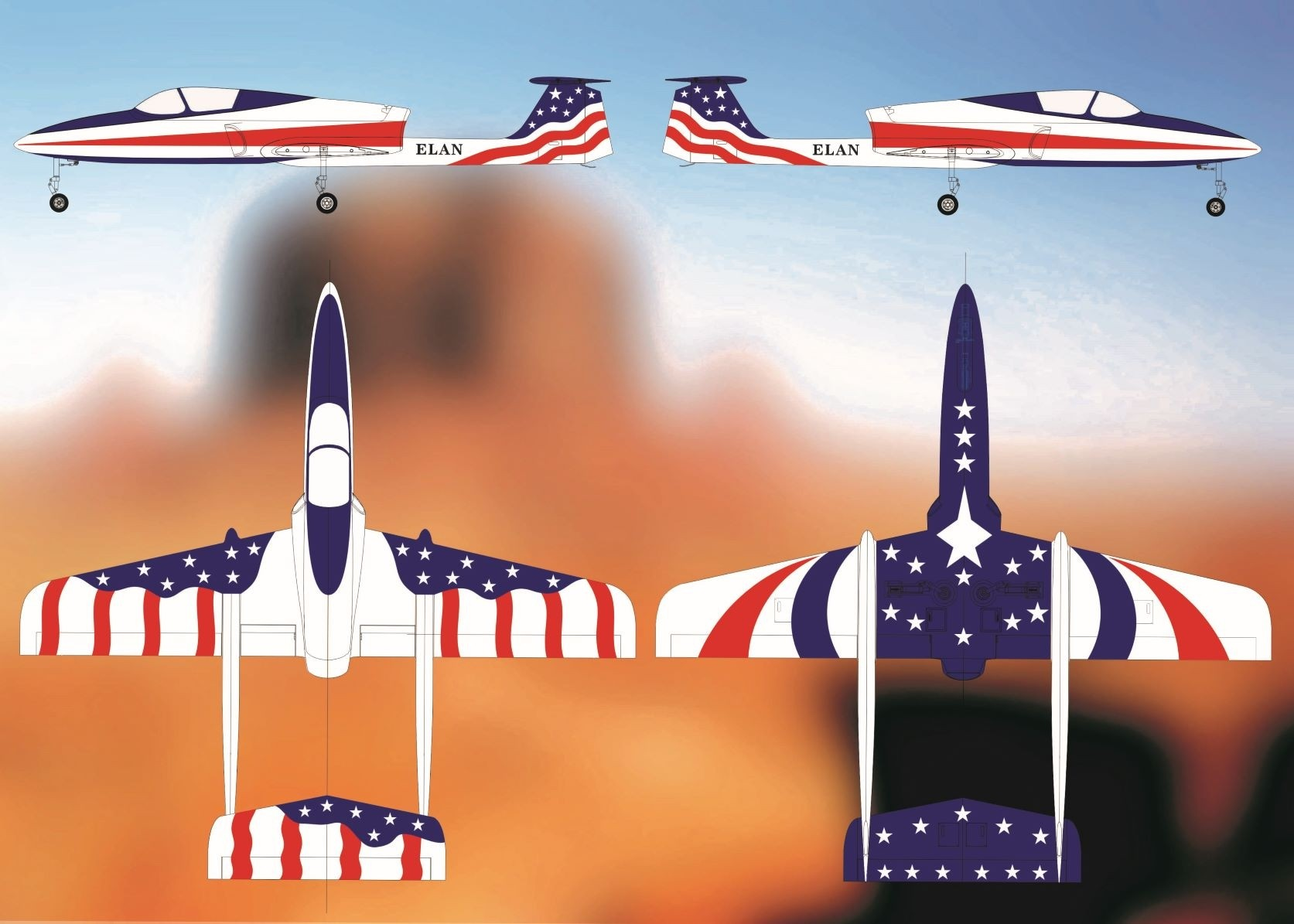 ELAN Stars & Stripes Boomerang RC Jets